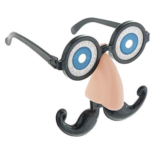 Baoblaze Lustige Partybrille Spaßbrille Brille mit Augen Bart und Nase für Cosplay Party und Karneval
