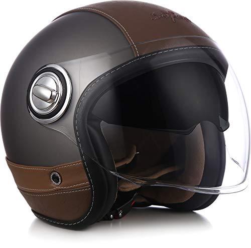 "Soxon® SP-888 Pro ""Urban Titan"" · Jet-Helm · Motorrad-Helm Bobber · ECE Sonnenvisier Leather-Design Schnellverschluss SlimShell Tasche M (57-58cm)"