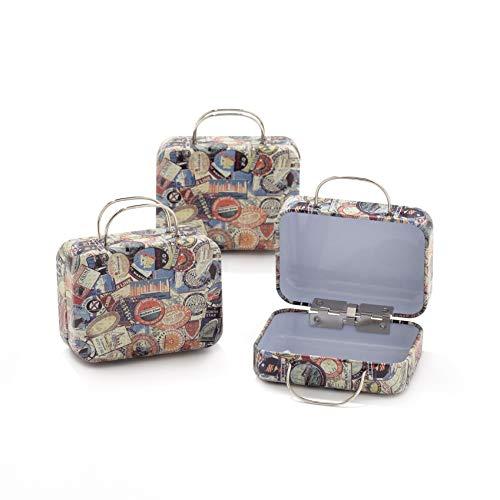 12pz scatola forma bagaglio valigia borsa in materiale ferro-portaconfetti bomboniere tema viaggio mondo (b10)