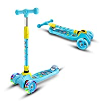 Leben Three-Wheeled Scooters, Kids Kick Scooter - Perfect for Children Aged 3+ - LED Light-Up Wheels, Foldable Design, Adjustable Handles and Lightweight Construction