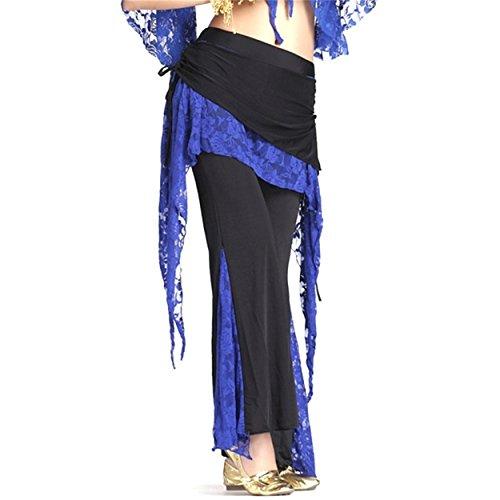 Damens Lace Bauchtanz Kostüm Hose Culottes Elastisch Hose Seite Schlitz (Hose Tribal Kostüm Bauchtanz Cotton Yoga)