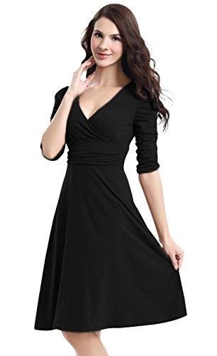 Aamikast Robe Femme Dress Sexy Robe Trapèze A-Line Spandex Elastique Respirant Taille 46 - Noir