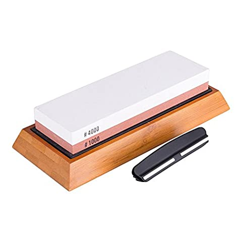 CO-Z Professional Sharpening Stone 2-Sided Grit 1000/4000 Whetstone Best knife sharpener stone with non-slip Bamboo Base and Angle Guide Sharpenig Stone for Chef, Kitchen, Pocket Knives and