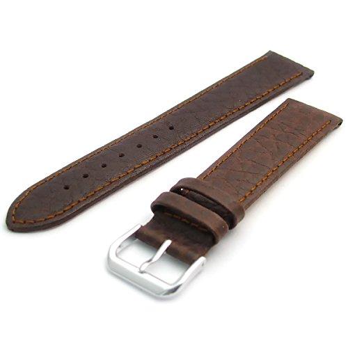 Uhrenarmband Leder Band Camel Getreide XL Extra Lang von Condor 18mm braun mit einem Chrom (Silber Farbe) Schnalle 051l