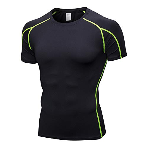 Fenverk Gym Herren Fitness T-Shirt Trainingsshirt Training Meliert MäNner Kurzarm Shirt Optimal FüR Fitnessstudio & Passform Slim-Fit Sport Freizeit(Grün,XXL)