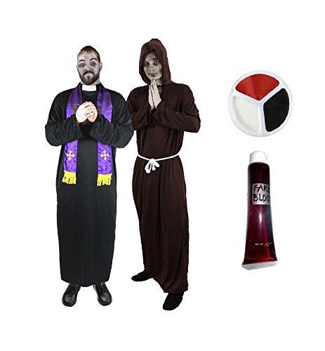 ZOMBIE = PRIESTER + BRAUNE MÖNCH VERKLEIDUNG = VON ILOVEFANCYDRESS®= DAS PERFEKTE FREUNDE ODER PAARE KOSTÜM FÜR FASCHING HALLOWEEN UND KARNEVAL = ZOMBIE-PRIESTER & ZOMBIE-MÖNCH KOSTÜM = BEIDE KOSTÜME SIND (Besten Halloween Paar Kostüme Freunde Die)
