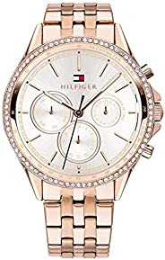 Tommy Hilfiger Women'S Silver White Dial Ionic Plated Carnation Gold Steel Watch - 178