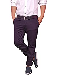 Kushsection Regular Fit Men's Cotton Navy Blue Trousers Men's Chinos Men's Casual Trousers For Men