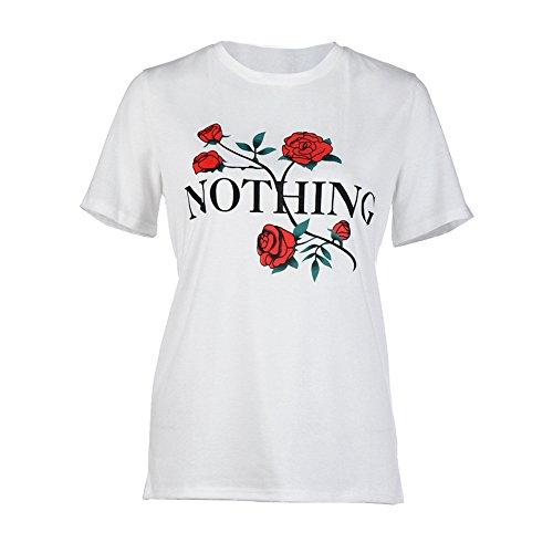 OSYARD Damen Nichts Rose Printing Sommer Lose Tops Kurzarm Bluse T-Shirt(EU 40/XL, Weiß)