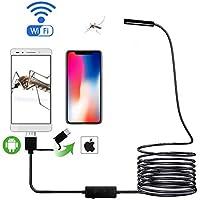 WAOBE Cámara Endoscopio WiFi Cable De La Batería 8Mm Lente HD720P 1M/2M/3.5M/5M Suave Duro No Inalámbrico Inspección con Boroscopio,1M