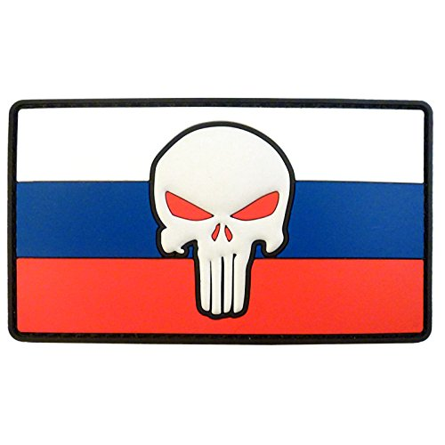 2AFTER1 Punisher Skull Russia Flag Morale Tactical Combat PVC Rubber Touch Fastener Patch (Combat Patches Morale)