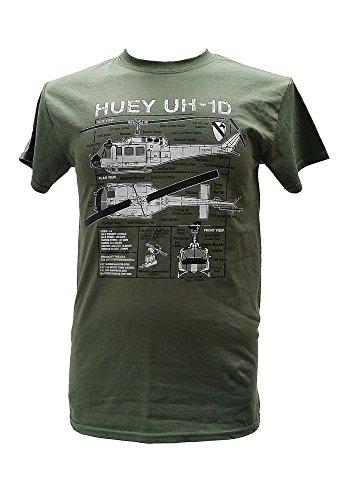 Huey UH - 1D Hubschrauber Vietnam Krieg Militär-T-Shirt blueprint design (XXL)
