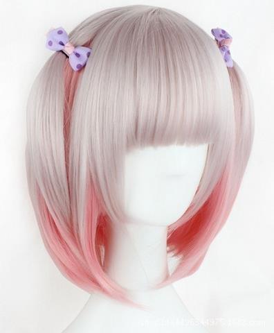 ATAYOU® Kurze rote blonde gemischte synthetische Anime Cosplay Perücke Halloween Karneval Perücke für Frauen (Perücken Halloween Anime)