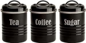 Typhoon Dosen-Set für Tee, Kaffee, Zucker, 3-teilig, schwarz