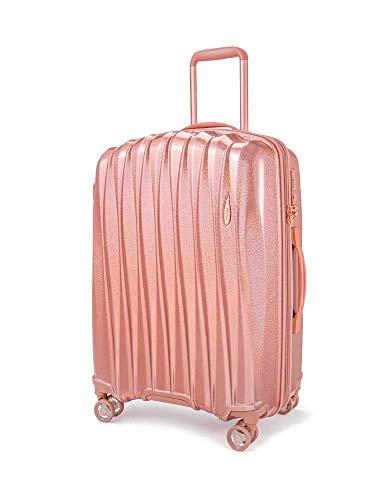 Verage Hartschalen-Koffer Glitter (M-24-66×46×28cm) 68-84 Liter erweiterbar, Rosegold, 4 Rollen S-PET Trolley, TSA-Schloss integriert