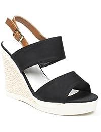 Ideal Shoes - Sandales compensées en toile Tallila