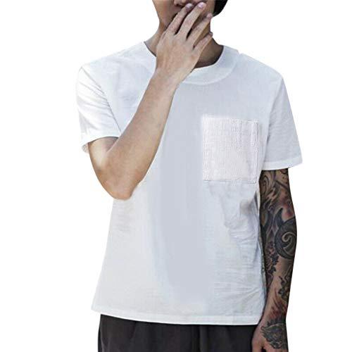 FiveFeed Mode Herren Hemd Leinenhemd Kurzarm Regular Fit Rundhalsausschnitt Einfarbig Freizeithemd für Männer