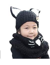 Estilo de la historieta del sombrero,ANGTUO Fox mantón sombrero y la bufanda del invierno del otoño hacen punto del casquillo del bebé con un sombrero