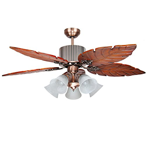 YI KUI 52 Zoll Deckenventilator Lichter, 4-Massivholz Fan Blades Deckenventilator Mit 5 Lampen E27 Glas Lampenschirm, Für Restaurant Wohnzimmer Schlafzimmer,C -