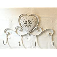 Wall Mounted Shabby Chic Coat Rack with 4 Hooks- Ideal for Hanging Coats or Towels in the Bathroom, Bedroom, Kitchen or Hallway