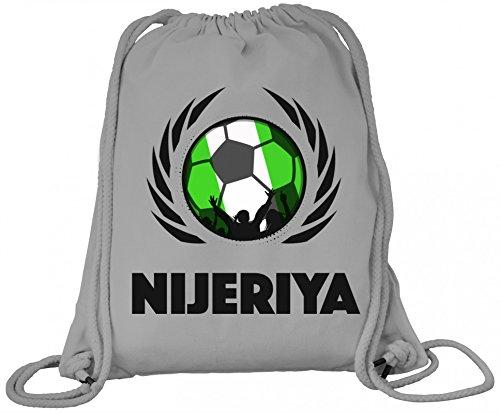Nijeriya Fanfest Fussball WM Bio Baumwoll Turnbeutel Rucksack Gym Bag Fußball Nigeria Heather Grey