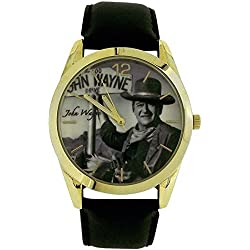 John Wayne Gents Analogue Limited Edition Black Leather Strap Dress Watch WAY01