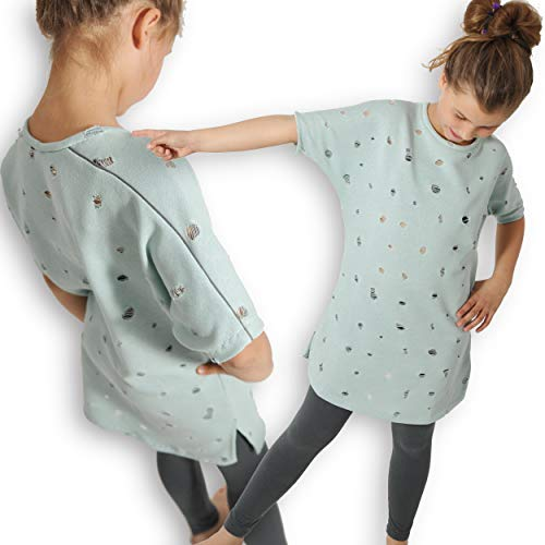 leni pepunkt Schnittmuster Shirt Mädchen mit Fledermausärmeln in den Größen 128-176 zum Nähen mit Anleitung und 5 Webetiketten