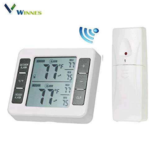 Winnes LCD-Display Kühlschrankthermometer kabellos Thermometer Küche Digital Temperatursensor Kühlschrank Thermometer mit 2 kabellosen Sensoren akustischer Alarm und Max/Min-Funktion -