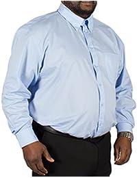 d3f939741c4a Espionage Big Mens Traditional Long Sleeve Button Down Plain Shirt Blue 3XL  4XL 5XL 6XL 7XL