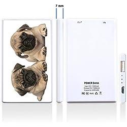 Batería externa adicional para Smartphone Impreso con un precioso diseño de dos pequeños carlinos