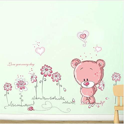 Cartoon rosa bär blume glas wandaufkleber für kinderzimmer sofa wohnkultur pvc wandtattoo hochzeitsdekoration diy wandkunst