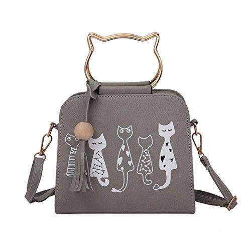 QinMM Tier Messenger Bag Frauen Handtaschen Katze Kaninchen Muster Schulter Umhängetasche Kosmetiktasche Kleine Mode Schwarz Grau Rosa (Grau) - Guess Leder Taschen