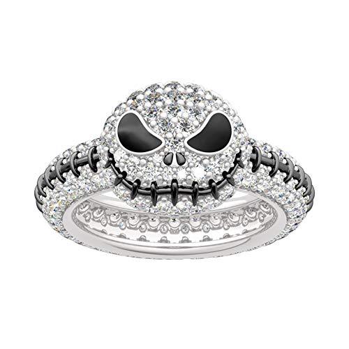 Jeulia Demen Schädel Ring Herren 925 Sterling Silber Ring Weißen Diamant Kürbis Ring Braut Set Hochzeit Engagement Ring (57)