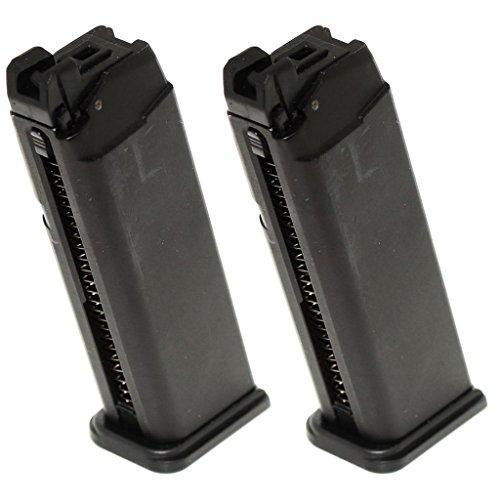 Airsoft Softair Ausrüstung 2pcs 25rd Gas Mag Magazin für G17 Serie GBB Pistole Schwarz -