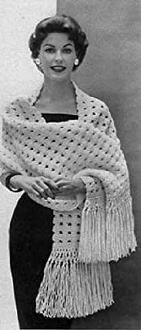 HARMONY SHAWL - Downloadable vintage 1953 Knitting Pattern. Text-to-Speech enabled. Available for Download to Kindle DX, Kindle for PC, Mac, iPhone, Blackberry, ... stole, yarn, craft, women, girl,