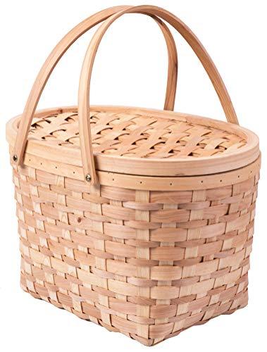 Vintiquewise QI003387 Picknickkorb aus Holz mit Deckel und -
