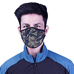 NEVER LOSE Camouflage Printed Reusable Washable Anti Pollution Mask with Dual Layer Filteration