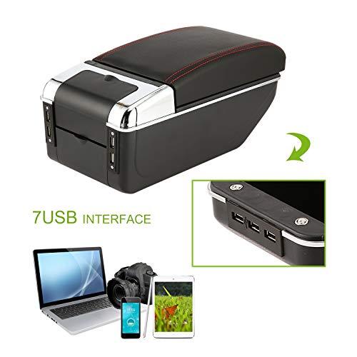 Preisvergleich Produktbild Universal Car Armlehne Aufbewahrungsbox mit 7 USB Ports Center Console Armlehne PU Leder Auto Auto Styling Werkzeug