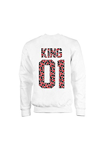 KING & QUEEN - SWEAT COL ROND KING 01 - Poker King Blanc