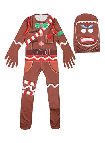 RedJade Lebkuchenmann Jumpsuit Bodysuit Catsuit Overall Halloween Cosplay Kostüm Kinder Jungen Braun 160