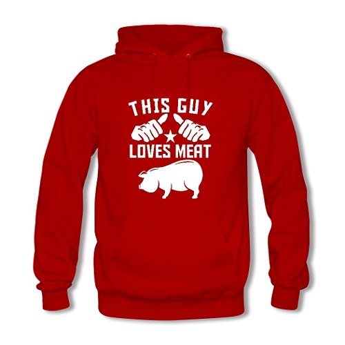 weileDIY This Guy Loves Meat DIY Custom Classic Women Hoodie Sweatshirt Red_A