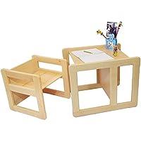 Preisvergleich für 3 in 1 Multifunktionales Kindermöbel Set bestehend aus einem Multifunktionalen Tisch und einem Multifunktionalen Kinderstuhl oder ein Multifunktionales Nest von zwei Couchtischen oder Beistelltischen für Erwachsene, aus massivem Buchenholz Naturlackiert