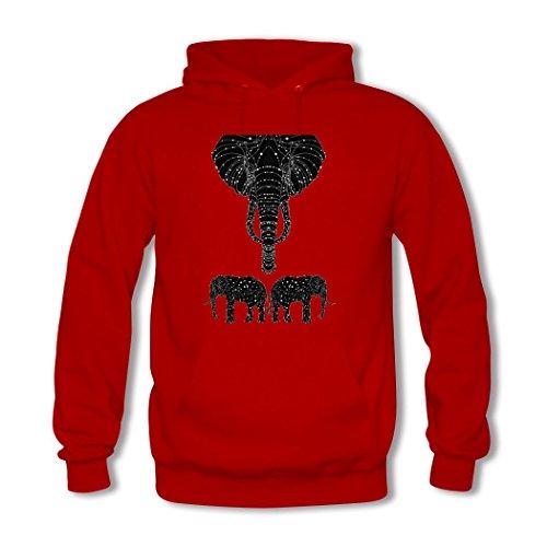 HGLee Printed Personalized Custom Elephant Women's Sweatshirts Hooded Hoodies Red--3