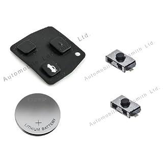 DIY-Reparatur-Set, für Toyota, 2-oder 3-Knopf-Fernbedienung für die Autotür, Schlüsselanhänger, Gummi-Pad, 2Schalter, CR2016, Batterie