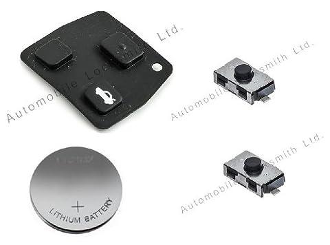 Kit d'auto-réparation pour coque de clé plip 2 ou 3 boutons Toyota 1 coque en caoutchouc 2interrupteurs 1pile CR2016
