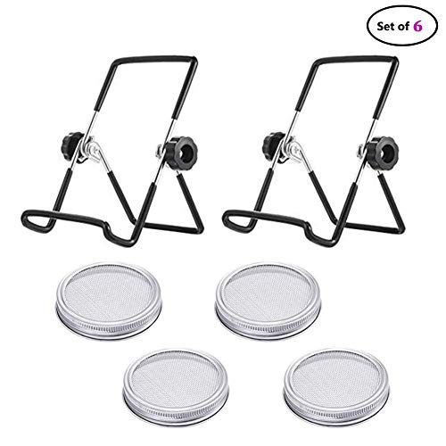 Jar Lids mit Stands,4 Pack Stainless Steel Spreuging Jar Lid mit 2 Pack Stainless Steel Spreuging Stands for Wide Mouth Mason Jars Canning Jars to Make Spreout ()