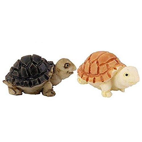 Demarkt 2 Stück Mini Gartendeko Kunstharz Material DIY Werkzeug für Topfpflanzen Dekoration Niedliche Schildkrötenform Design Mini Gartendeko Gelb und Schwarz  Farbe