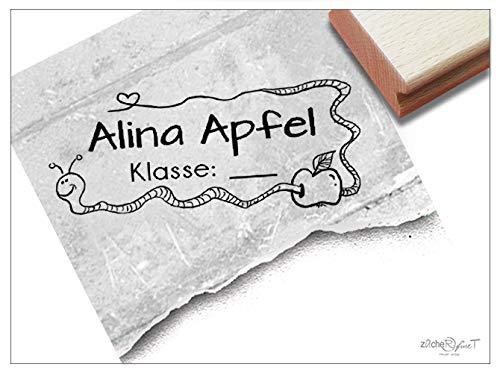 Stempel - Individueller Schulstempel Wurm im Apfel - Namensstempel personalisiert Name Klasse, Geschenk für Kinder Einschulung Schule - zAcheR-fineT -