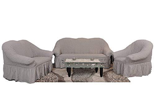 Sofaueberwurf elastisch / 3 Sitzer bezug / aus Baumwolle & Polyester in grau