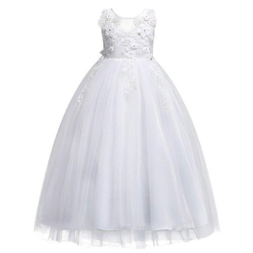 954e548d9c Vestido de niña de Dama De Honor Apliques de Encaje de Tul.